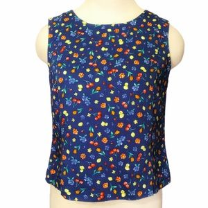 Sleeveless Button Back Waffle Cotton Floral Top